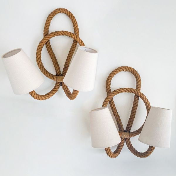 Pair of Audoux and Minet Rope Sconces